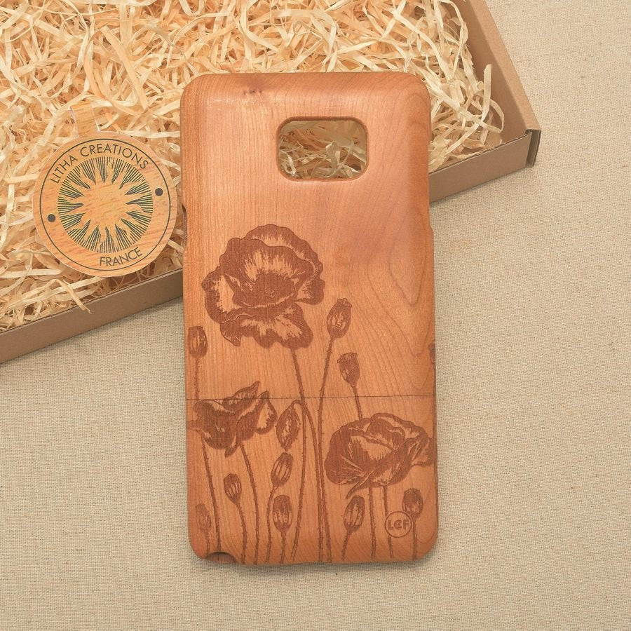 Floral POPPY ROW Wood Phone Case - Litha Creations France