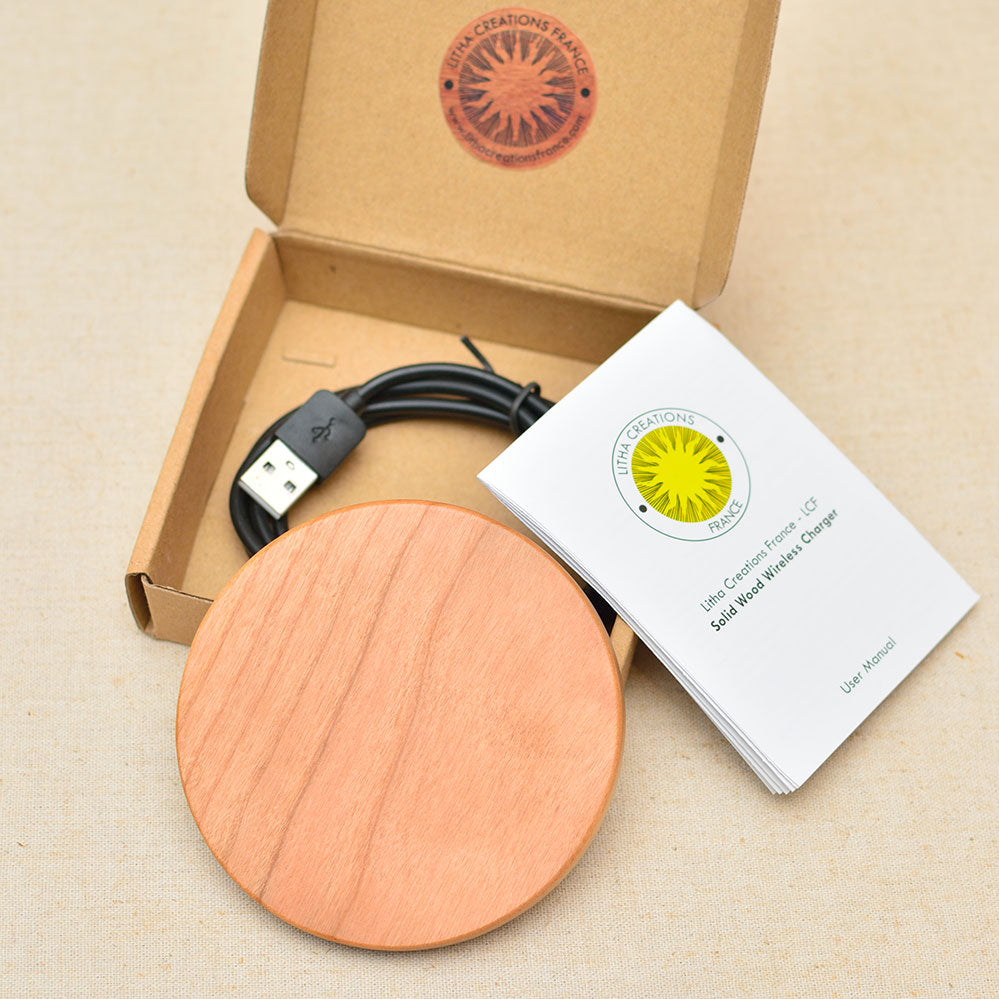 DMT Wood Gift Wireless Phone Charger 10W QI Charging Pad Custom Engraved