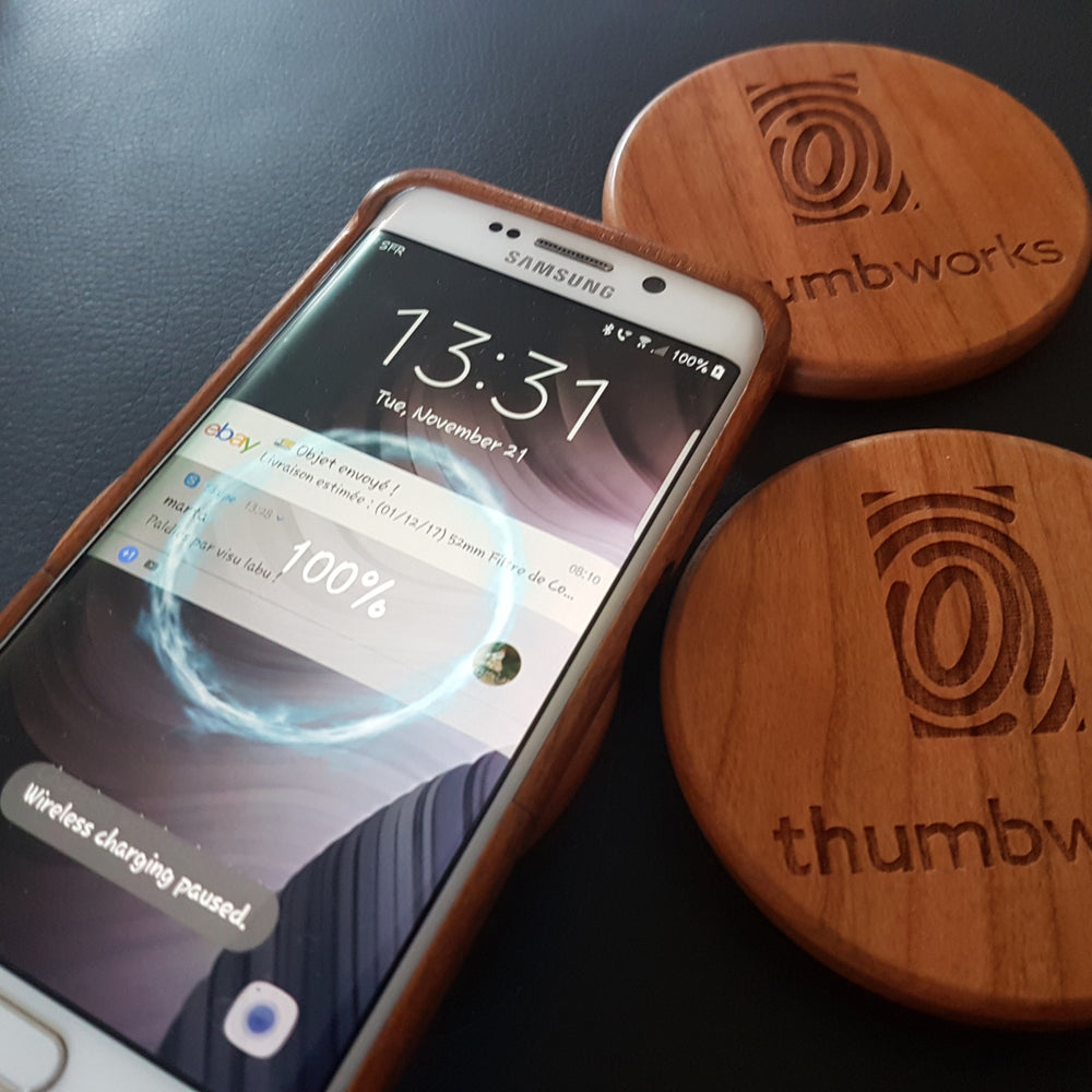 FEATHER LADY Wood Gift Wireless Phone Charger 10W QI Charging Pad Custom Engraved