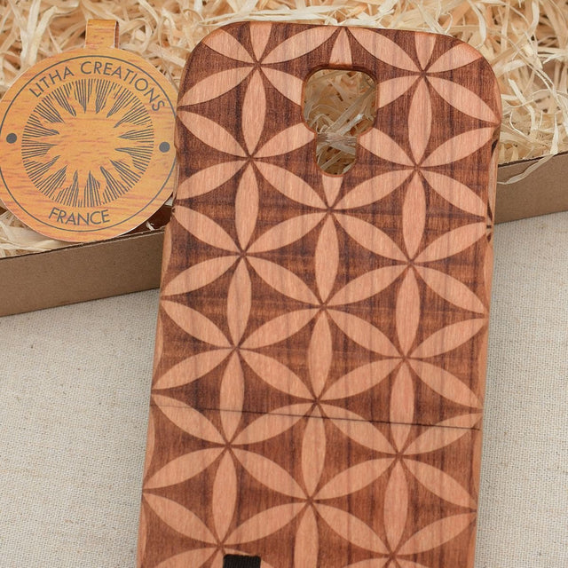 Sacred Geometric VERSO FLOWER OF LIFE Wood Phone Case