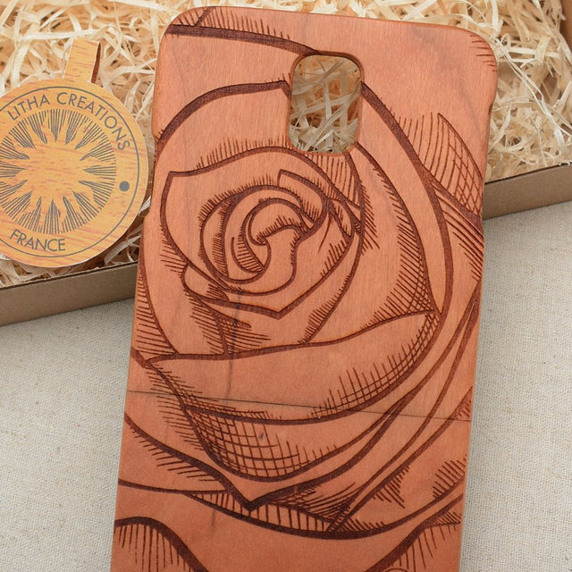 ROSE Floral Wood Phone Case