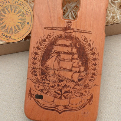 Nautical Wood Phone Case SAILING in MOONLIGHT - litha-creations-france