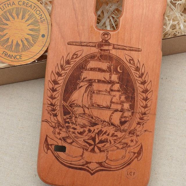 Nautical Wood Phone Case SAILING in MOONLIGHT