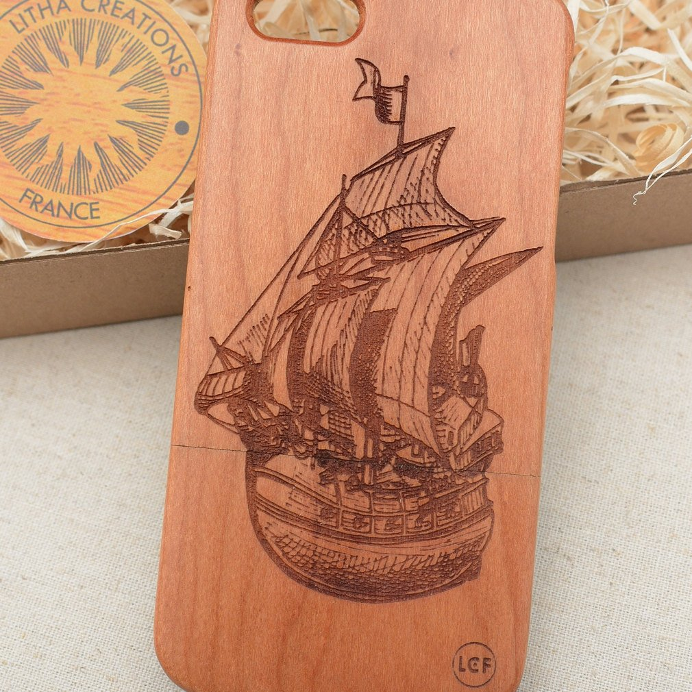 Nautical Wood Phone Case SAILING SHIP