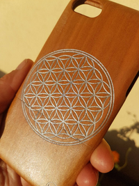 Sacred Geometric Silver FLOWER OF LIFE Wood Phone Case