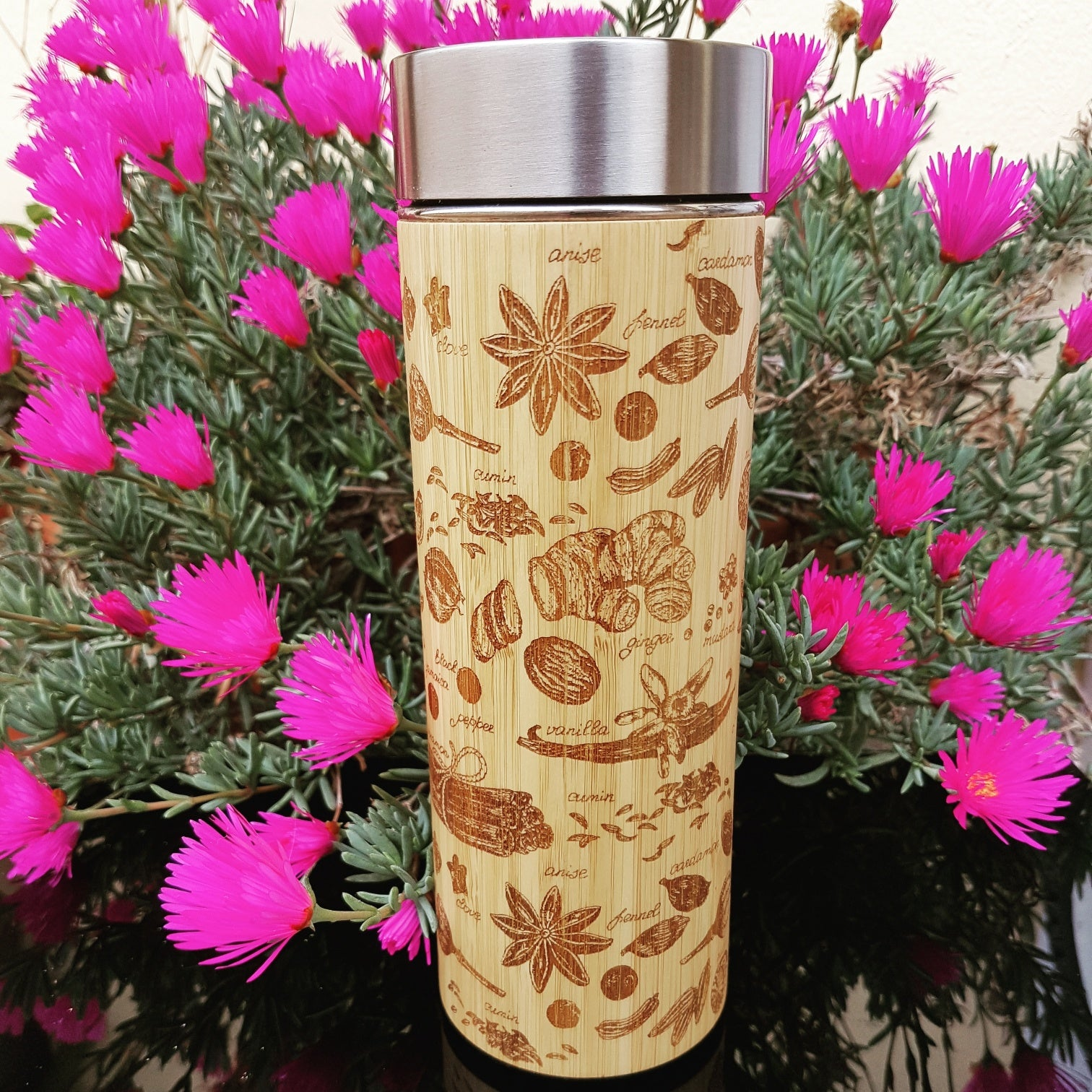 SPICES Wood Thermos Vacuum Flask