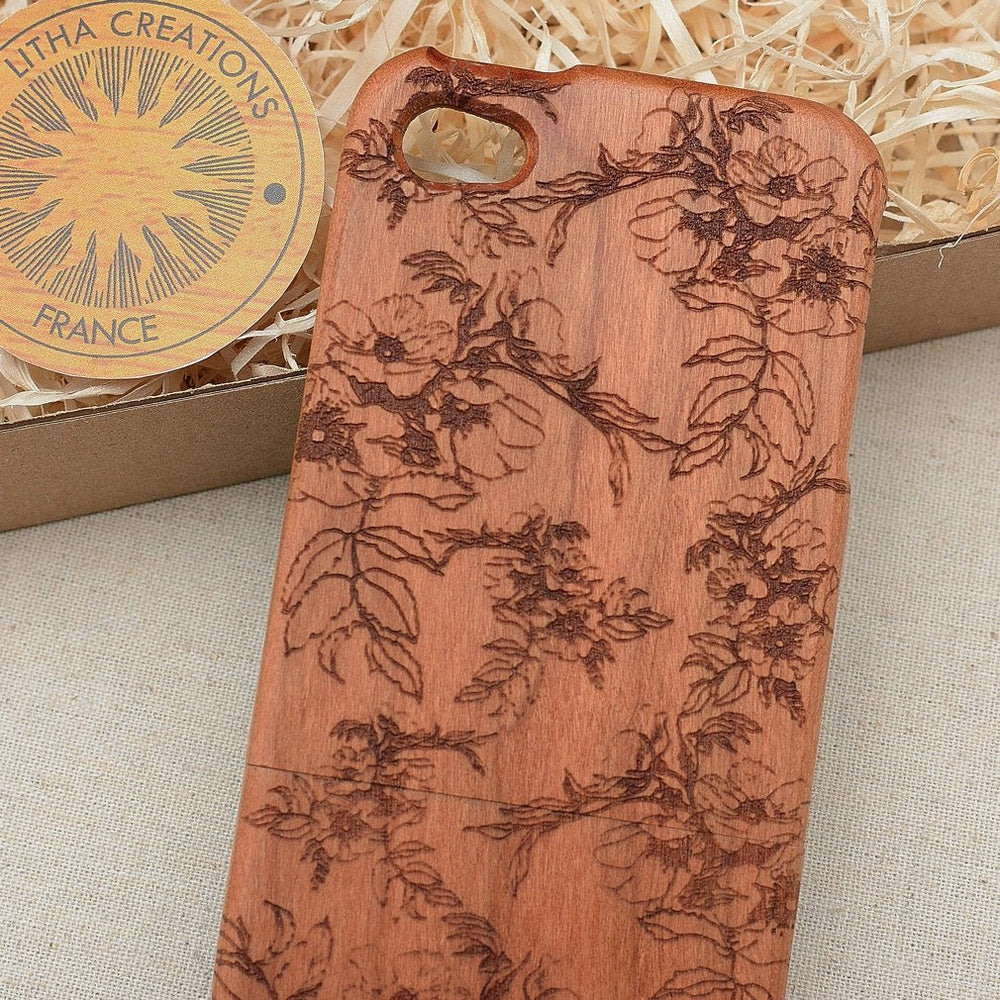 SPRING BLOSSOM Wood Phone Case Floral Custom Design - litha-creations-france