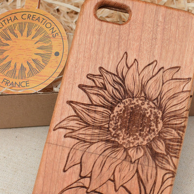 SUNFLOWER Wood Phone Case Floral Custom Design - litha-creations-france