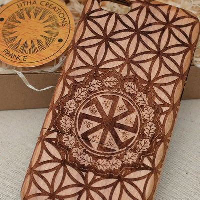 Scared Geometric Custom Design SUN WHEEL Wood Phone Case