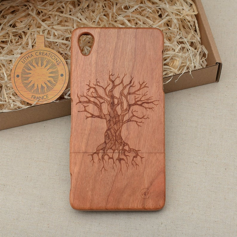 TREE  OF KNOWLEDGE Wood Phone Case Nature Custom Design - litha-creations-france