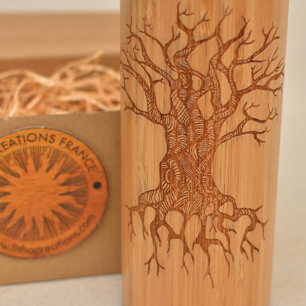 Engraved Wooden Thermos Vacuum Flask TREE OF KNOWLEDGE Wood - Stainless Steel - Screw Lid