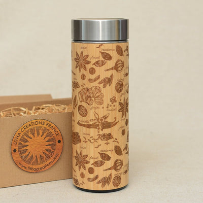 SPICES Wood Thermos Vacuum Flask - litha-creations-france