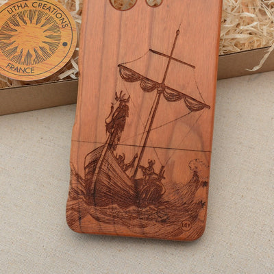 Nautical Wood Phone Case VIKING SHIP - litha-creations-france