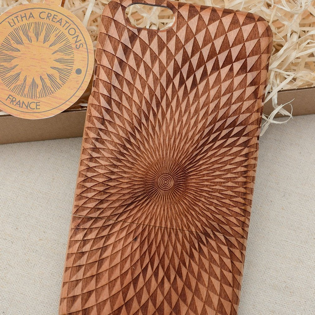 Geometric WORMHOLE Wood Phone Case