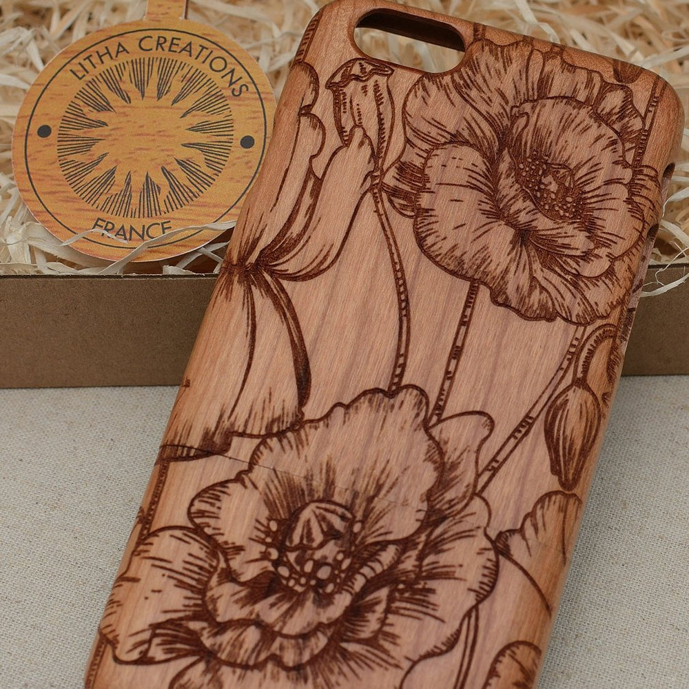 WILD POPPIES Wood Phone Case Floral Custom Design - litha-creations-france