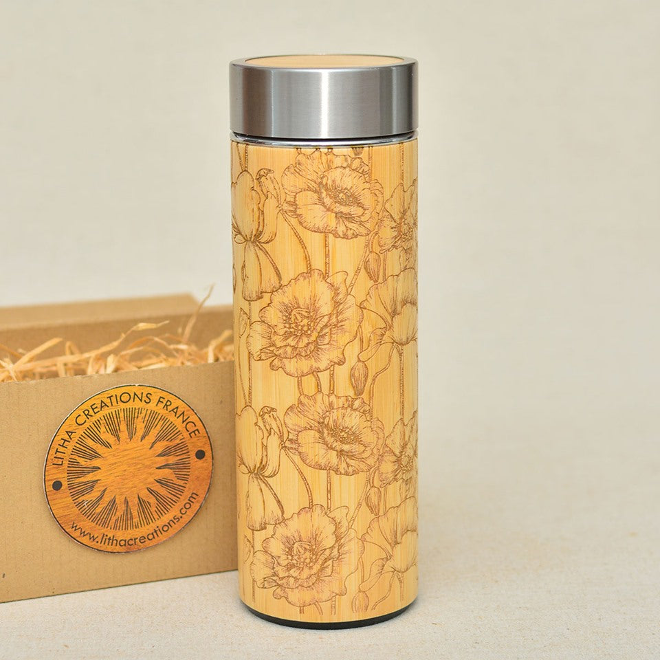 WILD POPPIES  Wood Thermos Vacuum Flask