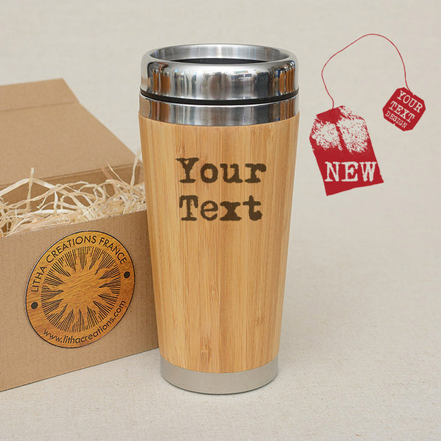 Customized TEXT Custom Engraved Wood Travel Mug Wooden Tumbler