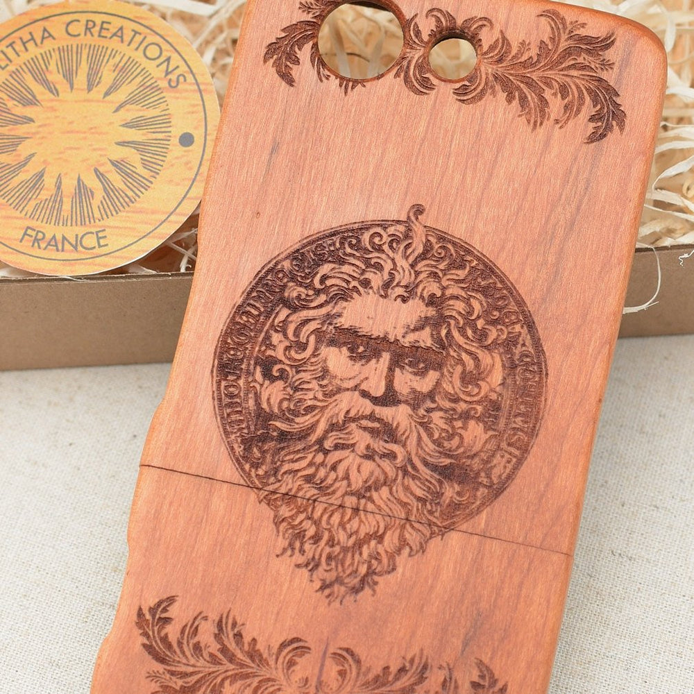 Ancient Symbols ZEUS Wood Phone Case - litha-creations-france
