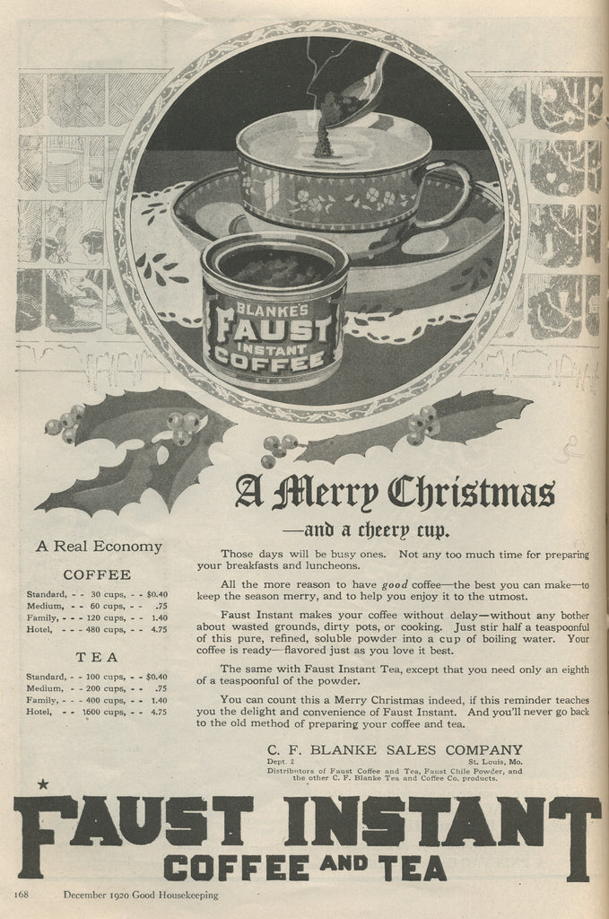 Faust Instant Coffee and Tea vintage ad