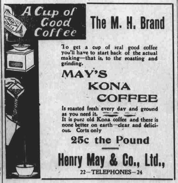 May's Kona Coffee The M.H. Brand vintage