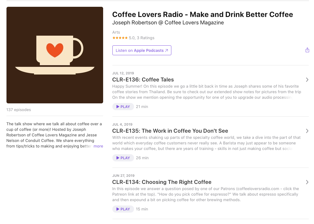 Coffee Lovers Podcast on Apple