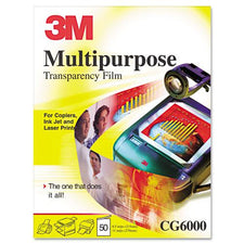 3M Clear Multipurpose Transparency Film w/ Sensing Stripe Letter Size 65ct Box