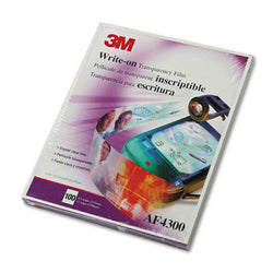 3M Clear Write-On Transparency Film Letter Size 100ct Box