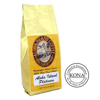 100% Pure Kona Platinum Light Roast Coffee Beans