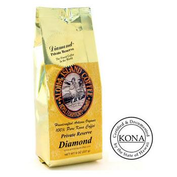 100% Pure Kona Private Reserve Diamond Med-Light Roast Coffee Beans