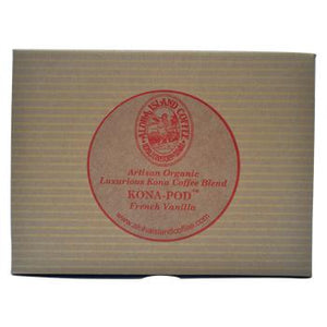 Aloha Island 100% Pure Estate French Vanilla Kona Coffee Pods 24ct Box  Back