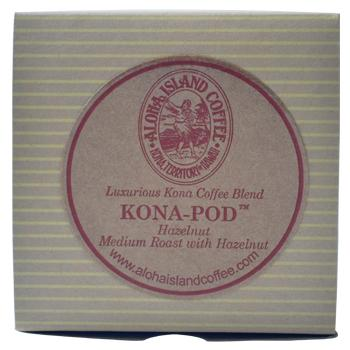 Aloha Island Coffee 100% Pure Estate Hazelnut Kona Coffee Pods - 36ct Box