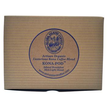 Aloha Island Kona Breakfast Blend Coffee Pods 12ct Box Back