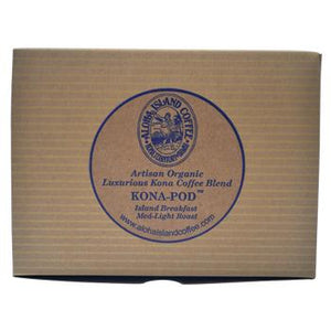 Aloha Island Kona Breakfast Blend Coffee Pods 24ct Box Back
