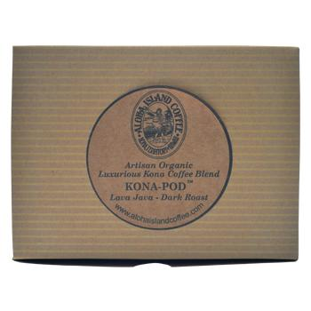 Aloha Island Lava Java Kona Dark Roast Coffee Pods 18ct Box Back