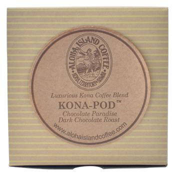 Aloha Island Chocolate Paradise Kona Dark Roast Coffee Pods 12ct Box