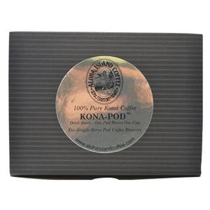 Aloha Island 100% Pure Estate Kona Dark Roast Coffee Pods 18ct Box Back