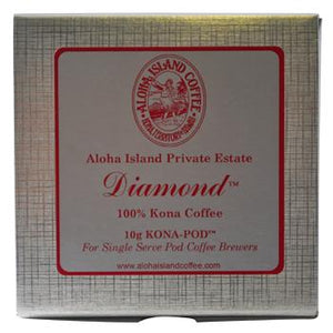 Aloha Island Private Reserve Diamond100% Kona Coffee Pods 48ct Box
