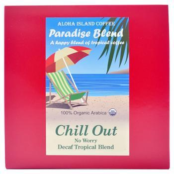 Aloha Island Chill Out Decaffeinated Medium Dark Roast Coffee Pods 24ct Side