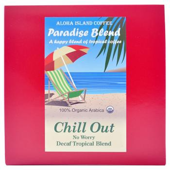 Aloha Island Chill Out Decaffeinated Medium Dark Roast Coffee Pods 18ct Side