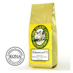 Organic Kona Blend Coffee Diamond II Med-Light Roast Ground Coffee