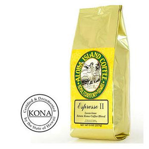 Aloha Island Organic Kona Blend Coffee Espresso II Coffee Beans 8oz Bag
