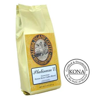Organic Kona Blend Coffee Platinum II Light Roast Coffee Beans