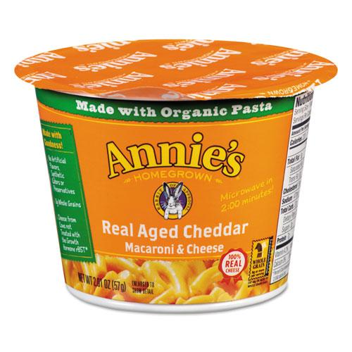 Annie's Homegrown Aged Cheddar Mac and Cheese, 2.01 oz Cup, 12/Carton