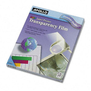 Apollo Clear Color Transparency Film Letter Size for Laser Printers and Copiers 50ct Box