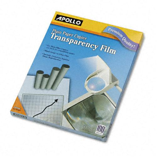 Apollo Clear Transparency Film Letter Size for Laser Copiers 100ct Box