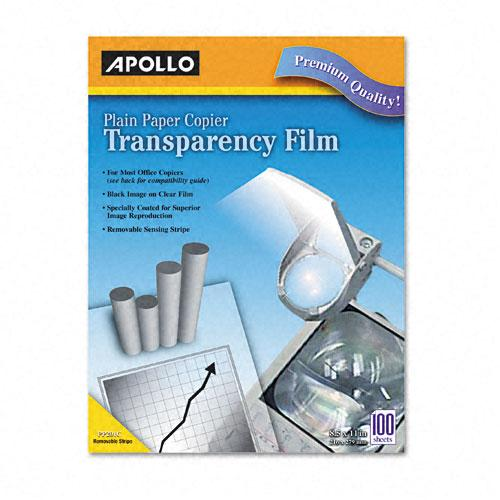 Apollo Clear Transparency Film with Removable Sensing Stripe Letter Size for Laser Copiers 100ct Box