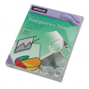 Apollo Clear Write-On Transparency Film Letter Size 100ct Box