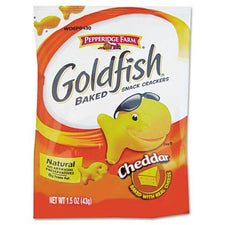 Baked Cheddar Flavored Goldfish Snack Single-Serve Crackers 72 1.5oz Bags