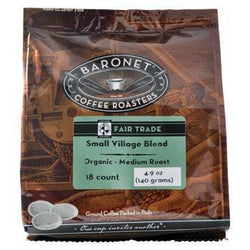 Baronet Coffee Fair Trade Organic Small Village Blend Coffee Pods 18ct