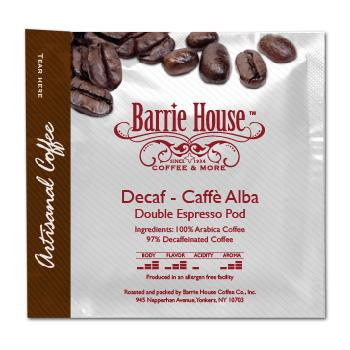 Barrie House Mocca Espresso Decaf Cafe Alba 55-58mm Double Espresso Pods 150ct